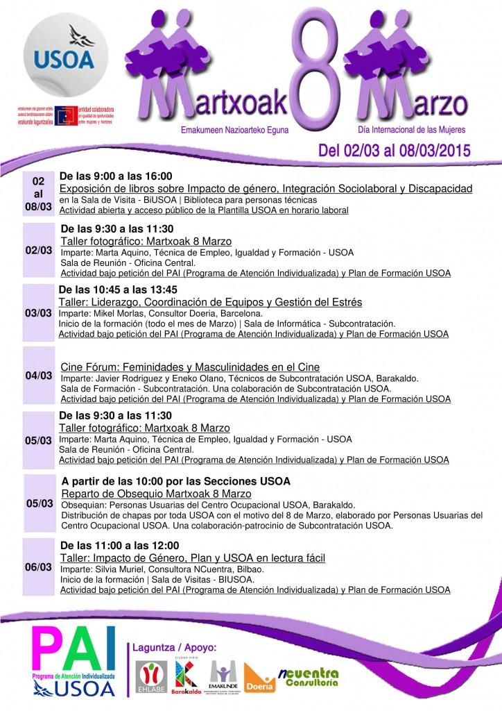 Programa de actividades Martxoak 8 Marzo, USOA.