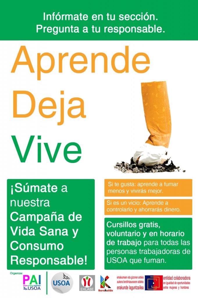 Cartel diseñado para la Acción Formativa sobre el Consumo de Tabaco, Dpto. RR.HH. USOA, 2015.