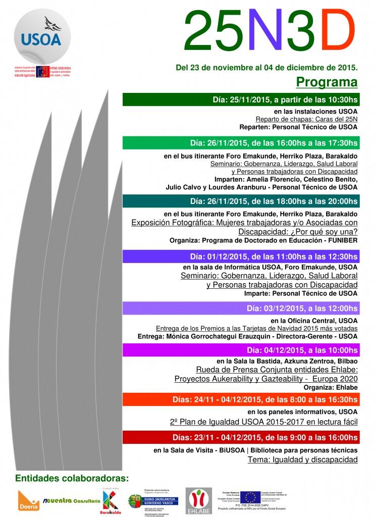 2015 programación de la 4ª j25n3d, USOA, Barakaldo.